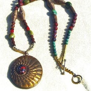 Turquoise Coral and Brass Locket Neckalce